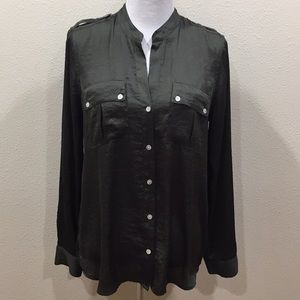 Vince Camuto Olive Green Long Sleeve Blouse